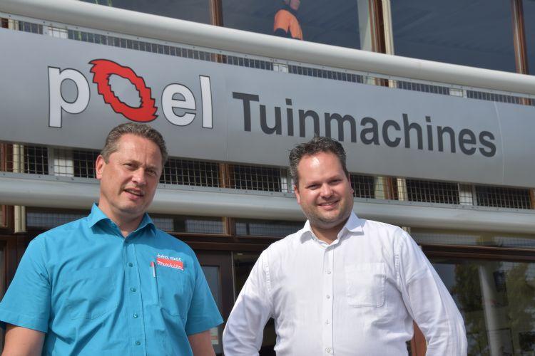 De Poel-directie koos voor de zomervakantie voor het Makita-dealerschap. Links Arjen Peeters, productmanager/adviseur van Makita; rechts directeur Paul van der Poel.