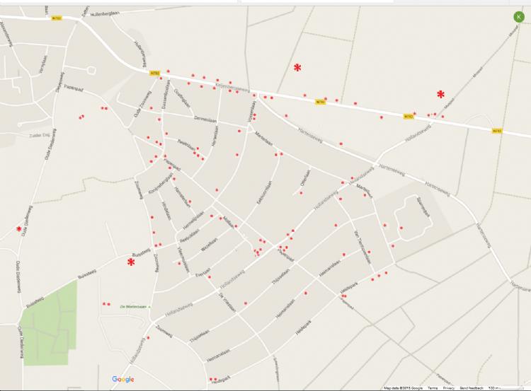 Duizendknooplocaties in 2013.