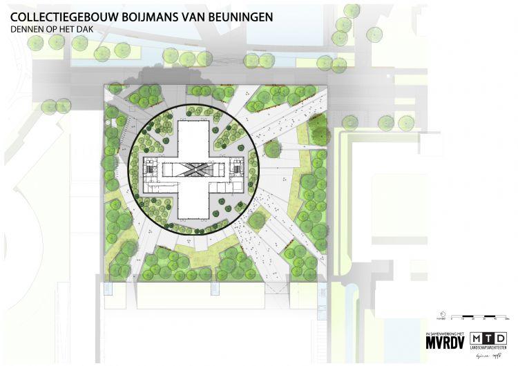 De ontwerpschets: de lijnen vetrekken vanuit het centrum van het kruisvormige paviljoen en lopen als zonnestralen als het ware van het dak af naar het maaiveld. Om het lijnenspel intact te houden, moest de groenaannemer de betonnen verharding langs de ont