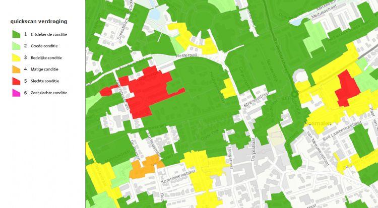 De 'verkeerslichtenkaart' van de quickscan door Alles Over Groenbeheer, hier van Rosmalen. Foto: Alles Over Groenbeheer