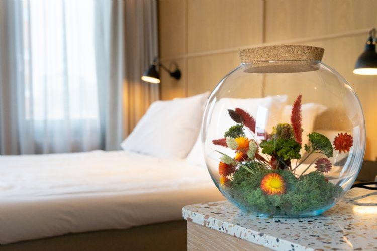 De natuur wordt van buiten naar binnen gehaald bij de Stenden Hotel Management School in Leeuwarden. De bloemen die 's zomers buiten bloeien, staan in gedroogde vorm in terrariums op de hotelkamers. Ook heeft Snoek Puur Groen er een eetbare tuin aangelegd