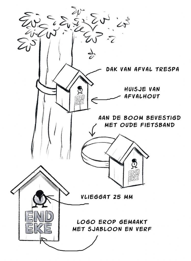 Schets van een mezenkast die door bewoners van de gemeente Tilburg zelf in elkaar wordt getimmerd