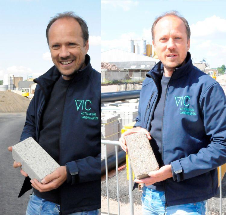 Links Victor Dijkshoorn met de nieuwe MBI renovatieklinker en rechts een oude klinker